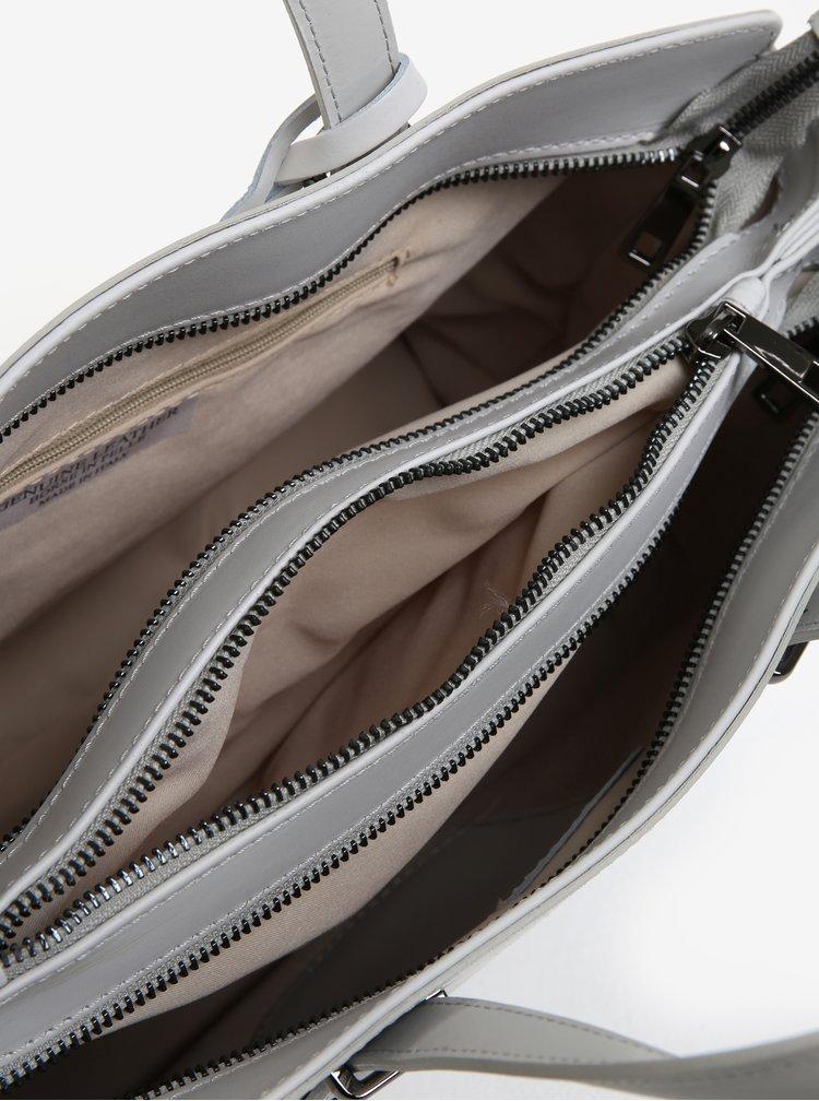 Světle šedá kožená kabelka KARA