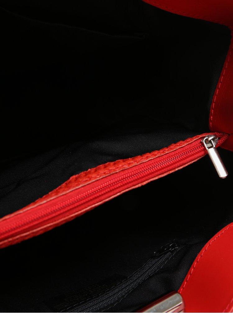Červená dámská kožená kabelka se vzorem KARA