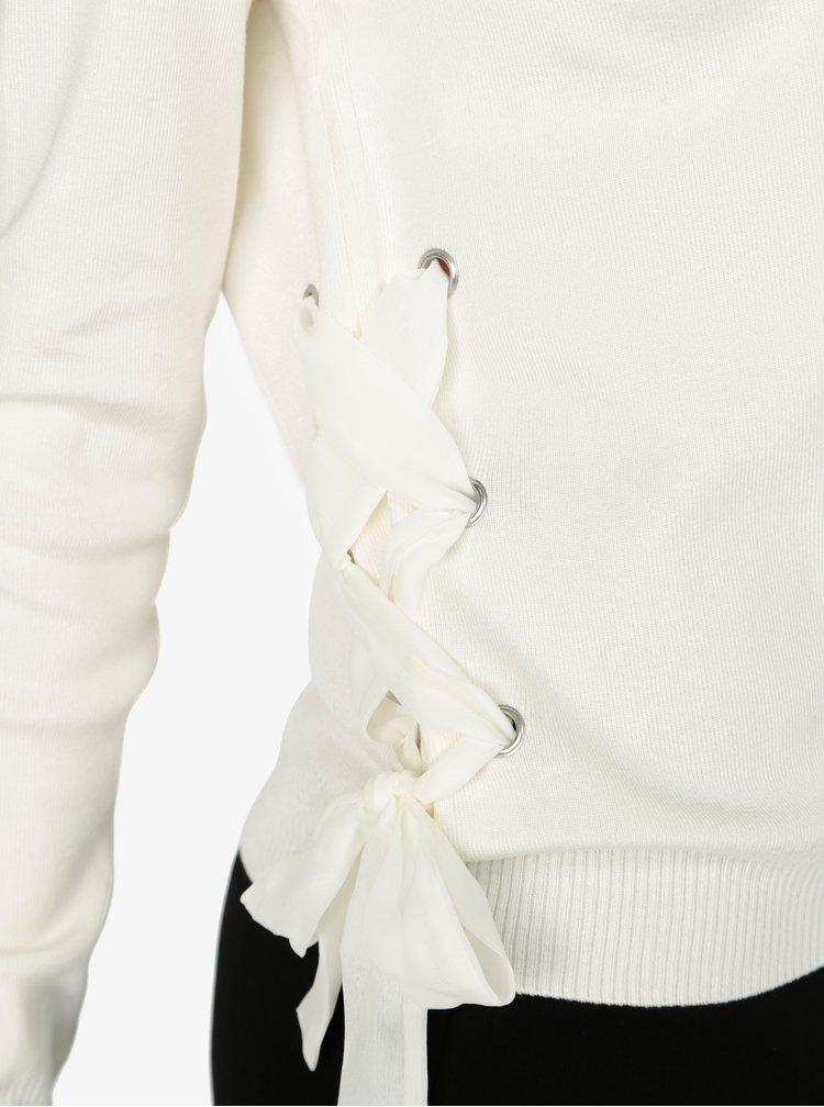 Krémový svetr s véčkovým výstřihem a šněrováním VERO MODA Babetta