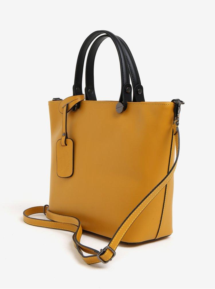 Žlutá dámská kožená kabelka KARA