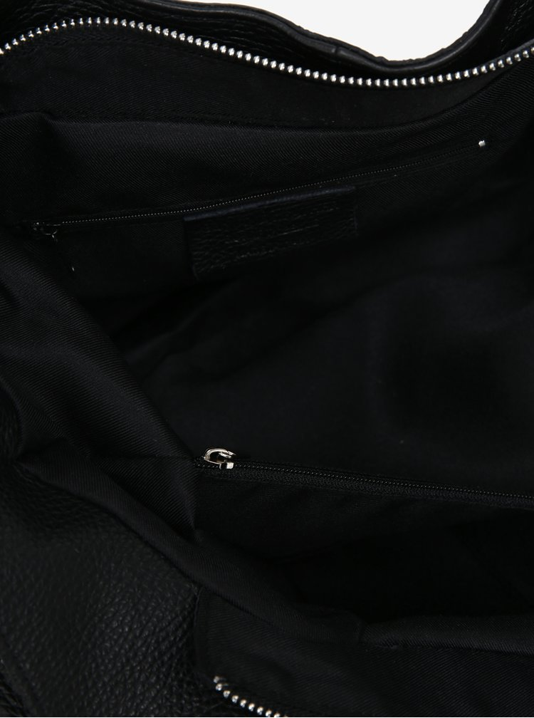 Černá dámská kožená kabelka KARA