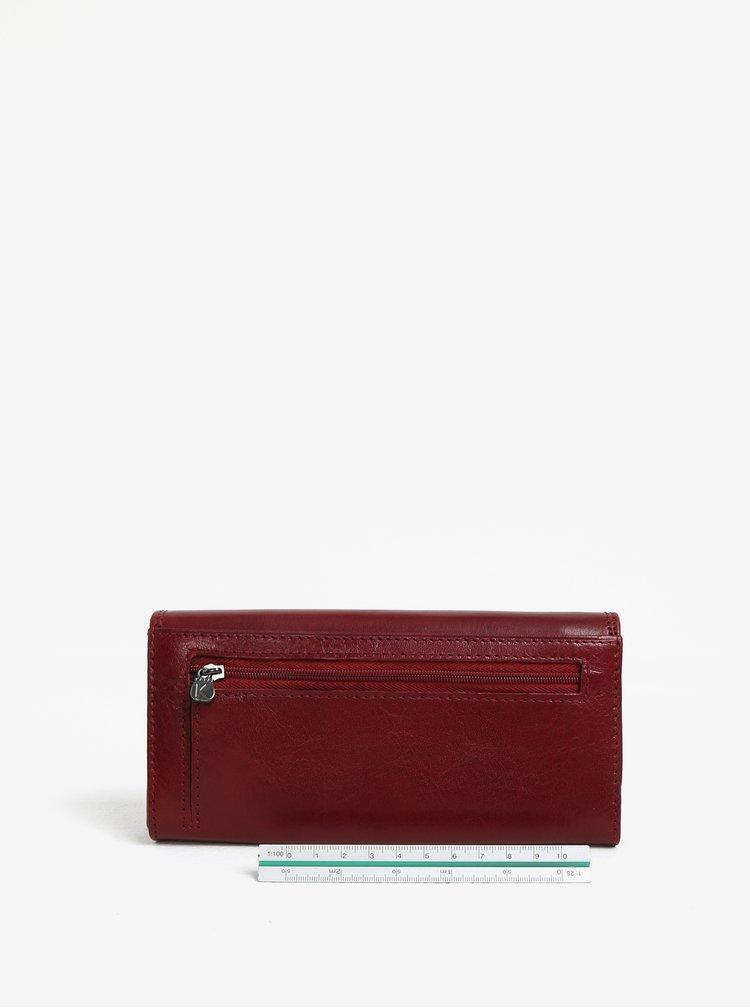 Vínová dámská velká kožená peněženka KARA