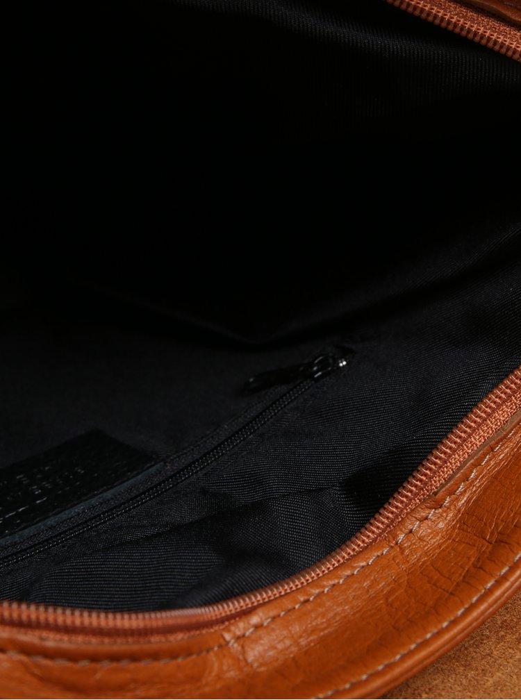 Hnědá dámská kožená crossbody kabelka KARA