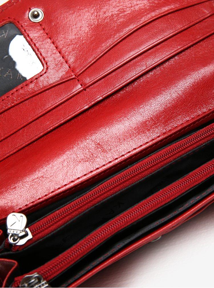Červená dámská velká kožená peněženka KARA