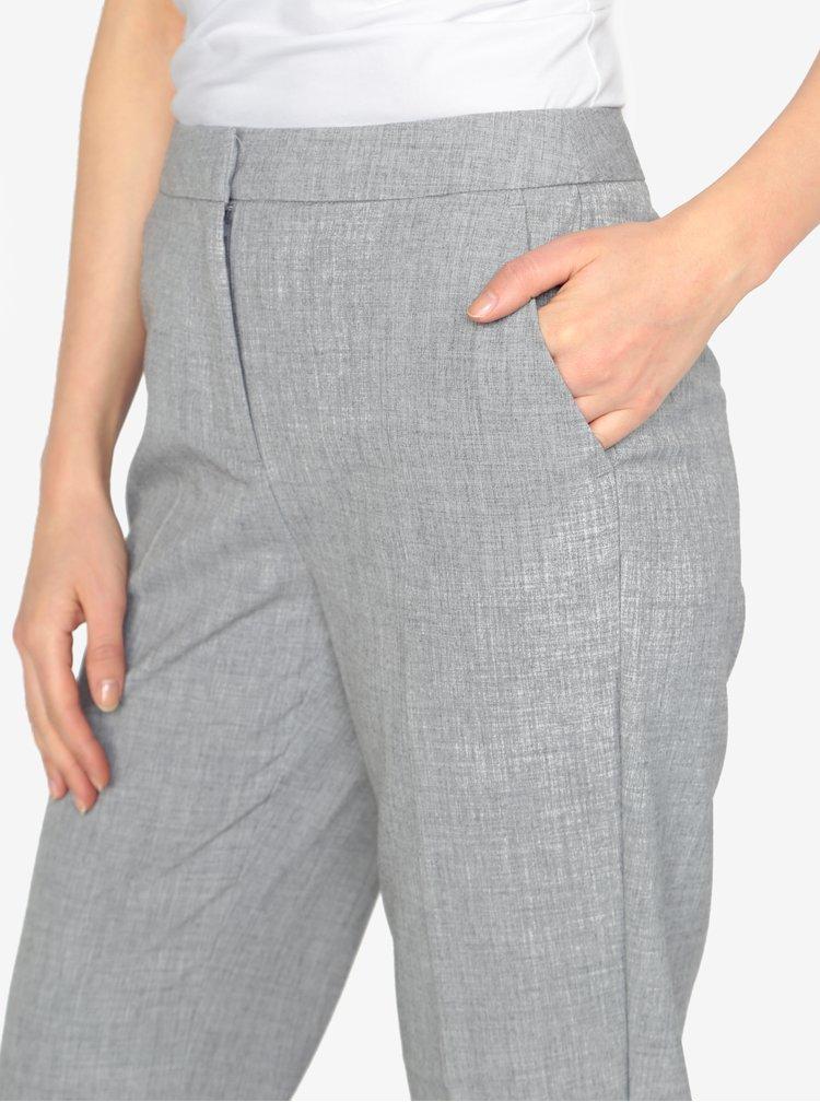 Šedé žíhané zkrácené kalhoty VERO MODA Olivia