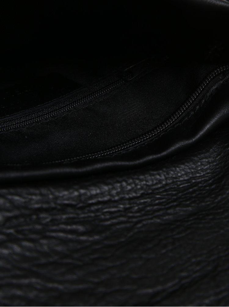 Geanta neagra crossbody din piele naturala cu clapa pentru femei- KARA