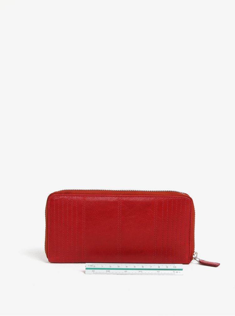 Červená dámská velká kožená peněženka na zip KARA