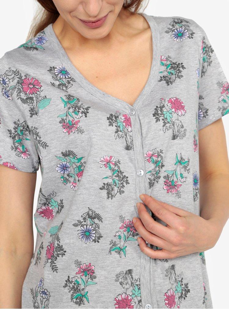 Šedá květovaná noční košile M&Co