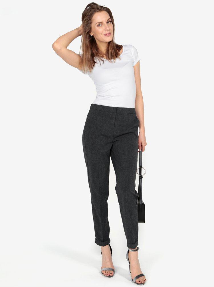 Tmavě šedé žíhané zkrácené kalhoty VERO MODA Olivia