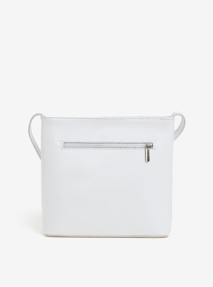 Bílá kožená crossbody kabelka s detailem ve stříbrné barvě KARA