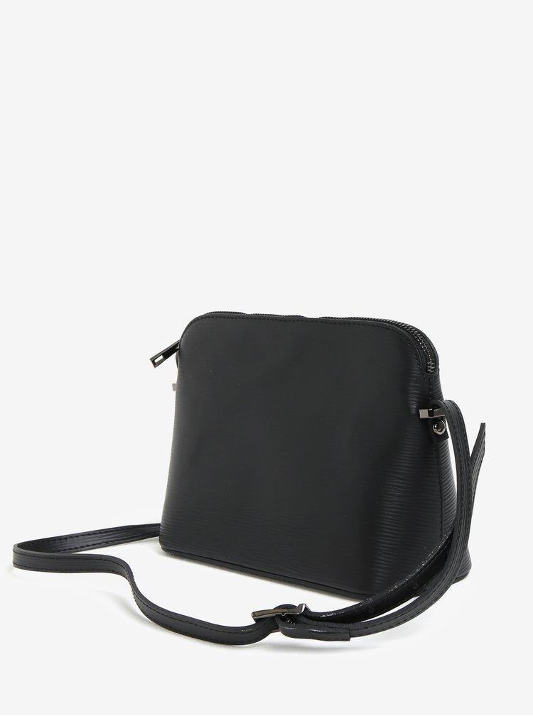 Černá kožená kabelka s jemným vzorem KARA
