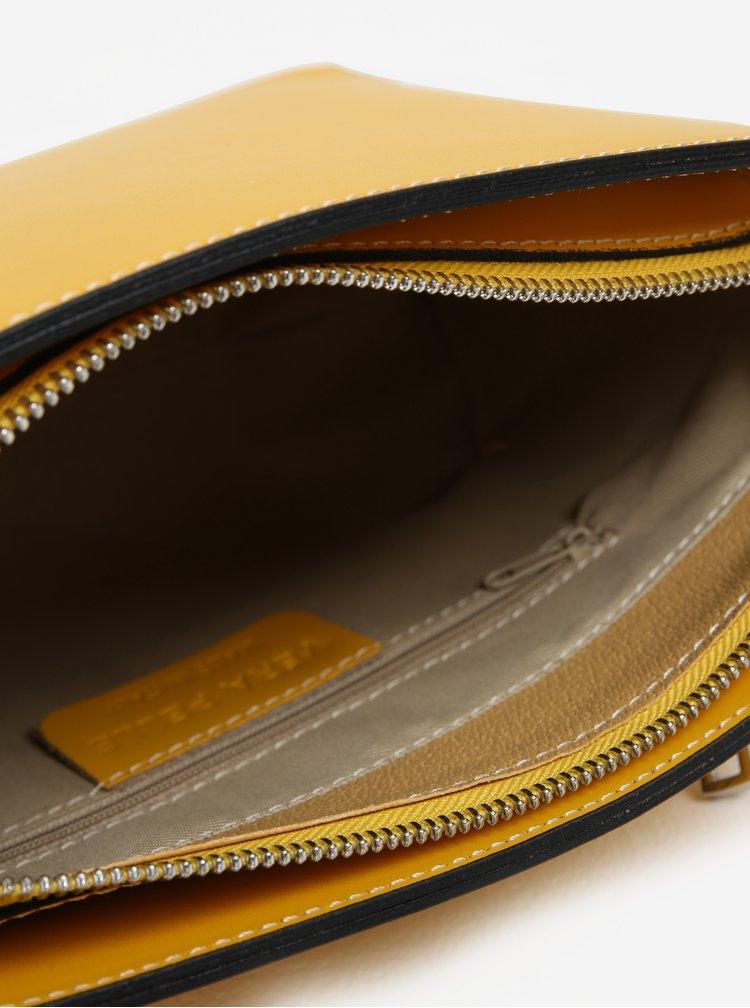 Žlutá dámská kožená crossbody kabelka KARA