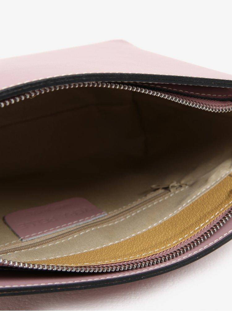 Růžová dámská kožená crossbody kabelka KARA