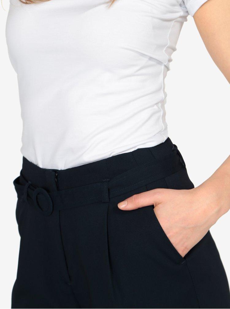 Tmavě modré volné kalhoty s vysokým pasem a páskem VERO MODA Emmy
