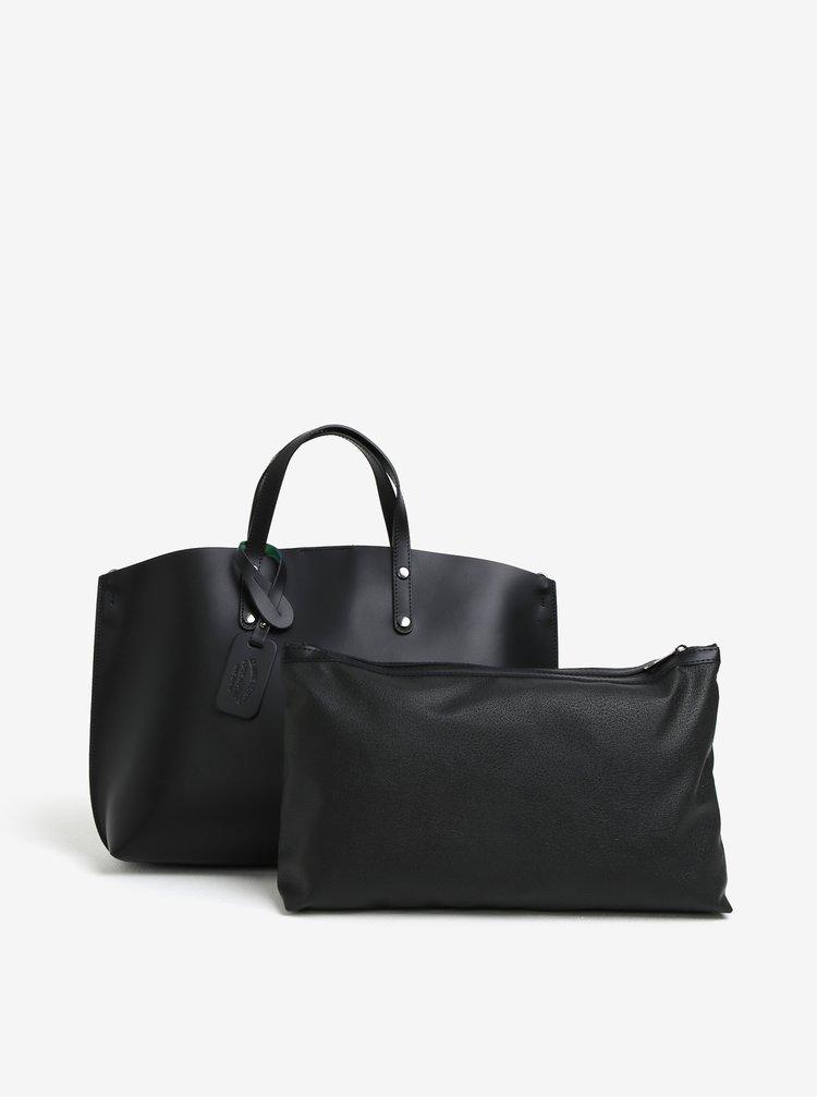 Černý dámský kožený shopper s pouzdrem 2v1 KARA