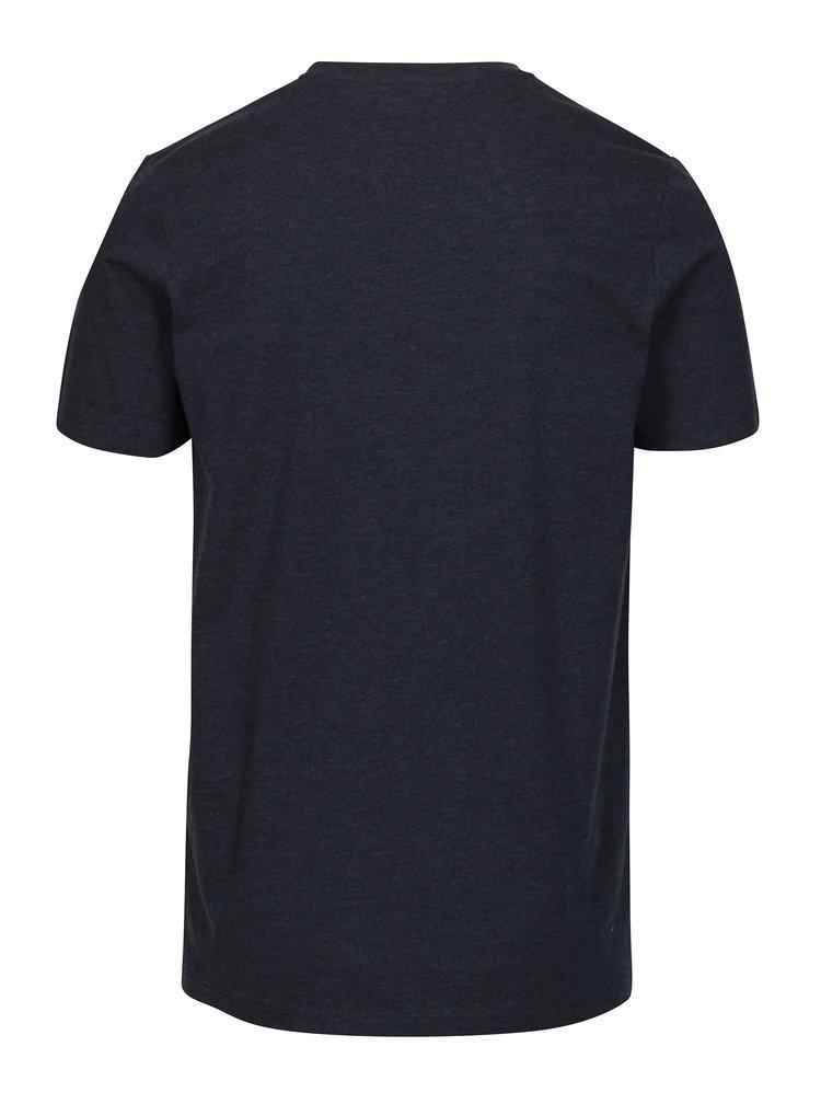 Tmavě modré žíhané slim fit tričko s potiskem Jack & Jones Booster