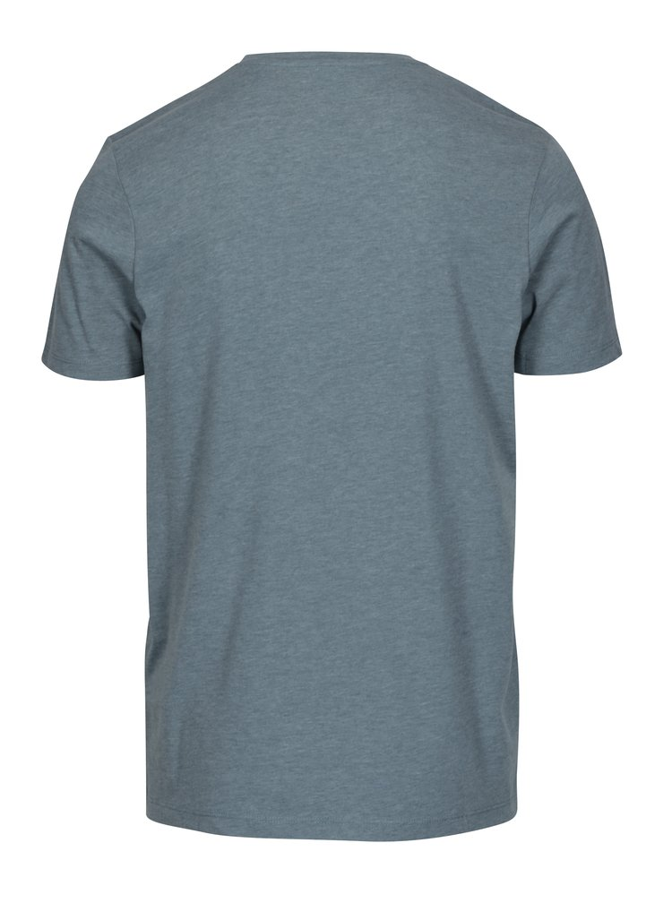 Šedomodré slim fit tričko s potiskem Jack & Jones Booster