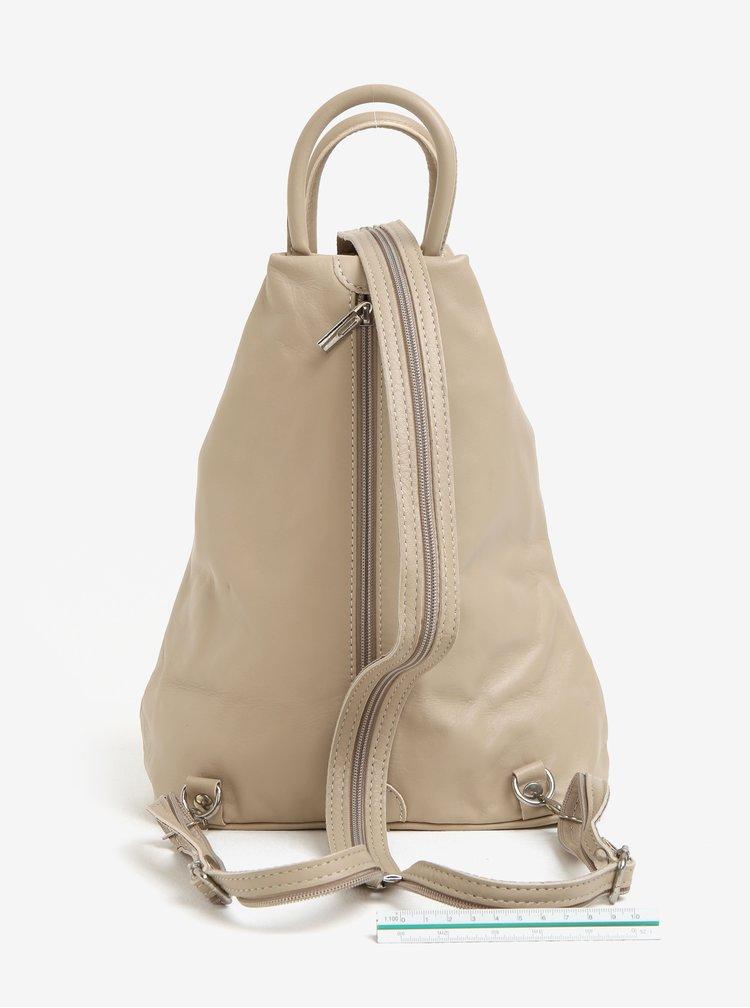 Béžový dámský kožený batoh KARA