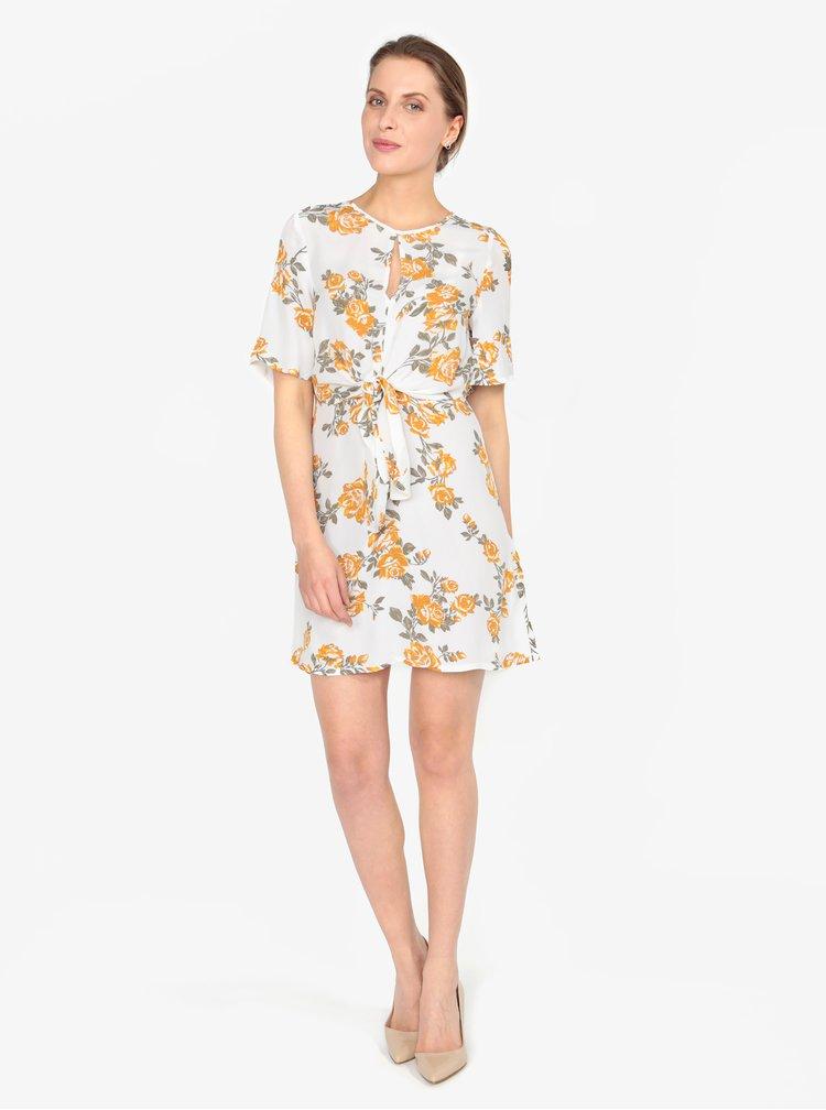 Rochie crem cu print floral si nod decorativ - Miss Selfridge