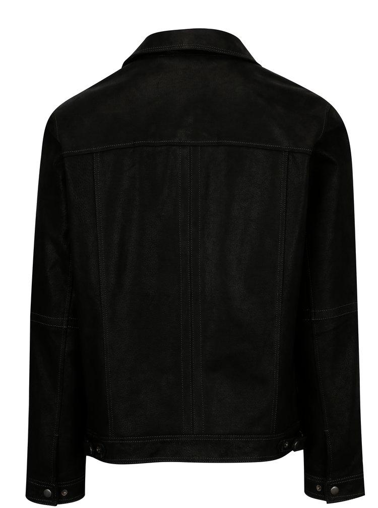 Černá pánská kožená bunda KARA Mats