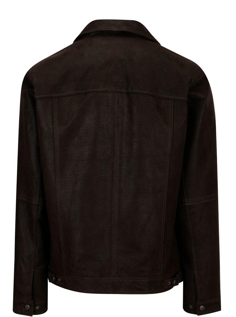 Tmavě hnědá pánská kožená bunda KARA Mats