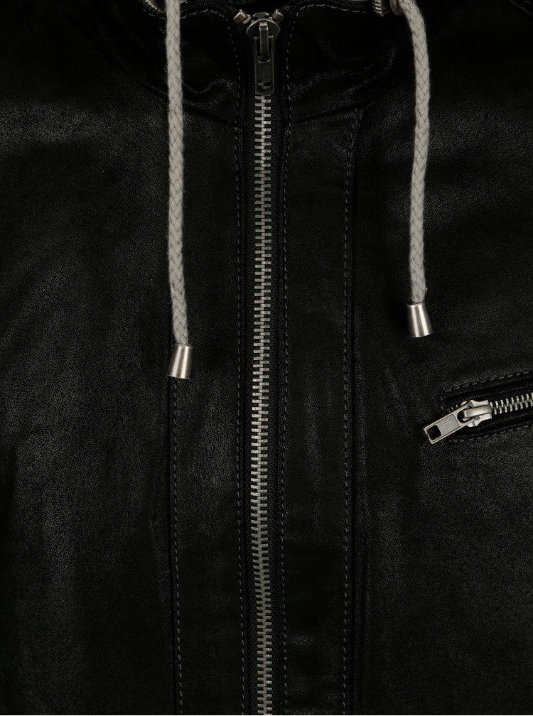 Jacheta neagra din piele cu gluga textila KARA Eric B