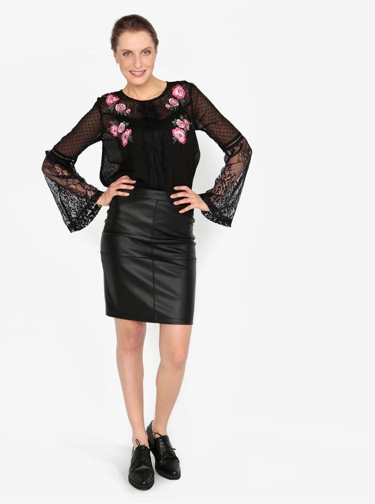 Černá průsvitná vzorovaná halenka s tílkem 2v1 Miss Selfridge