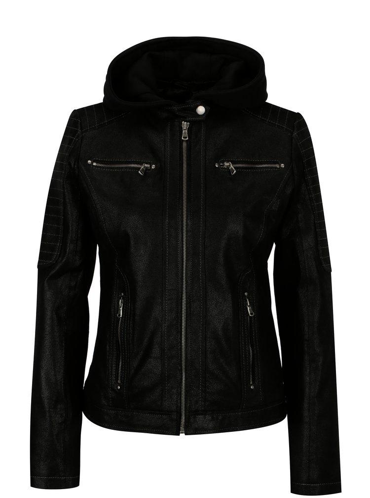 Černá dámská kožená bunda s kapucí KARA Maria