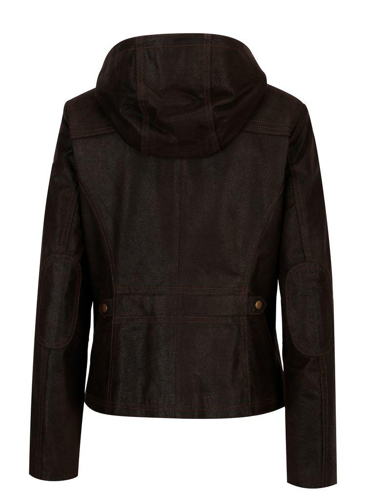 Tmavě hnědá dámská kožená bunda kapucí KARA Dominika B