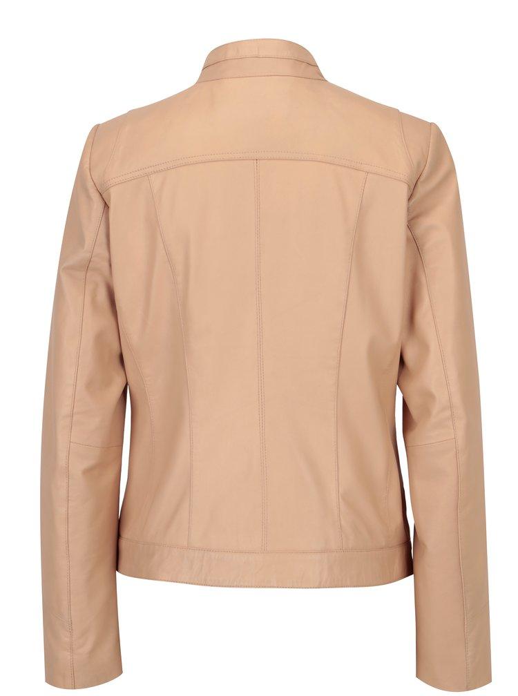 Světle růžová dámská kožená bunda KARA Stephie