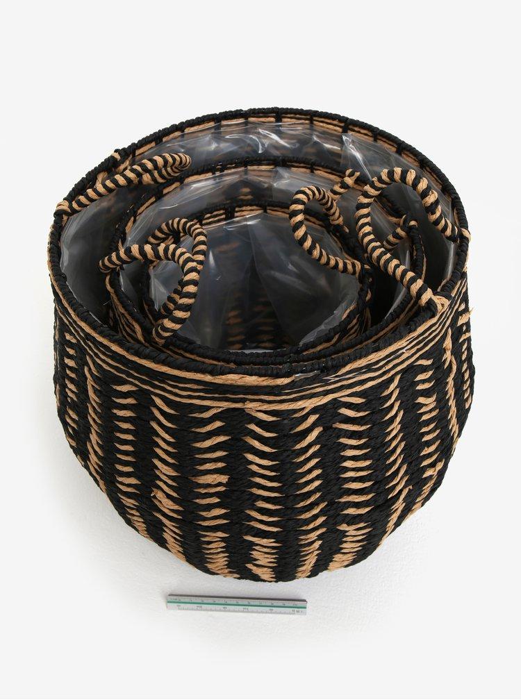 Sada tří pletených košů v černé barvě Kaemingk