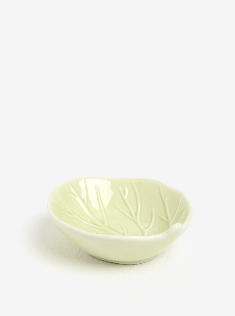 Zelená porcelánová miska ve tvaru listu Kaemingk