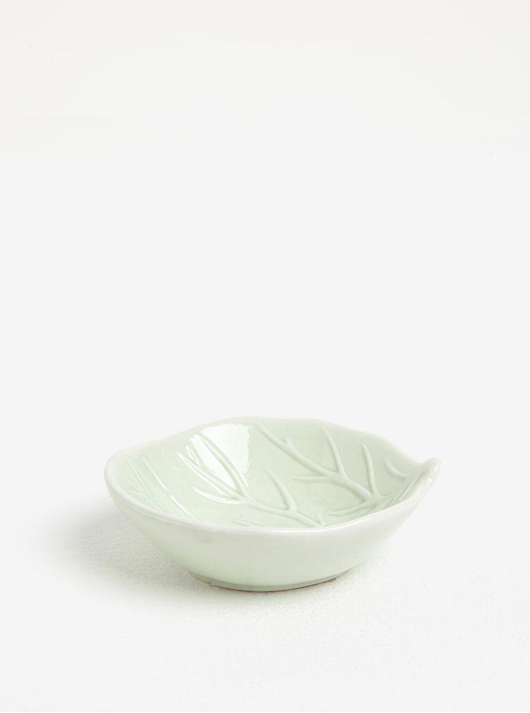 Světle zelená porcelánová miska ve tvaru listu Kaemingk