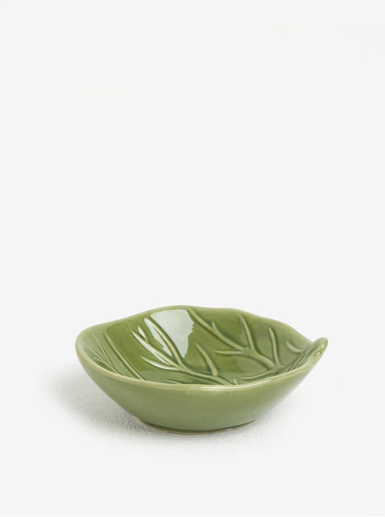 Tmavě zelená porcelánová miska ve tvaru listu Kaemingk
