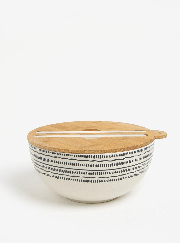 Bol alb de salata cu capac din lemn si betisoare - Kaemingk