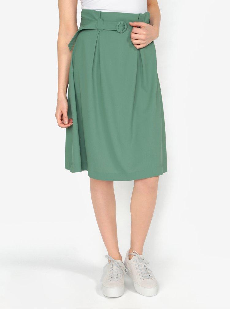 Zelená áčková sukně s páskem VERO MODA Emmy