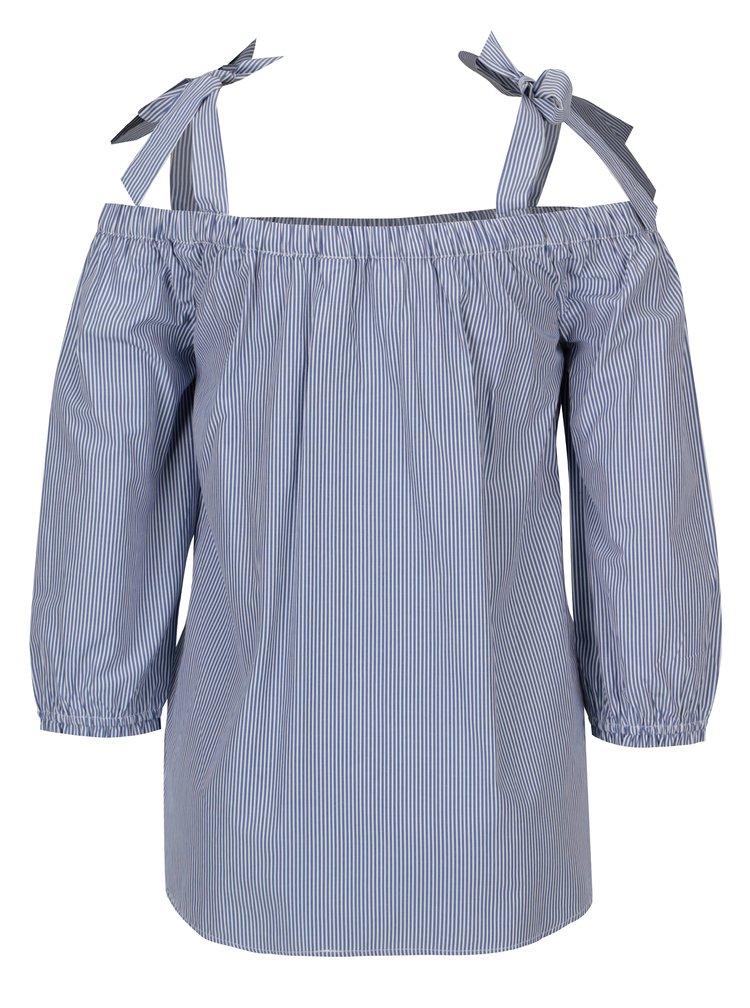 Modro-bílá pruhovaná halenka s odhalenými rameny Dorothy Perkins