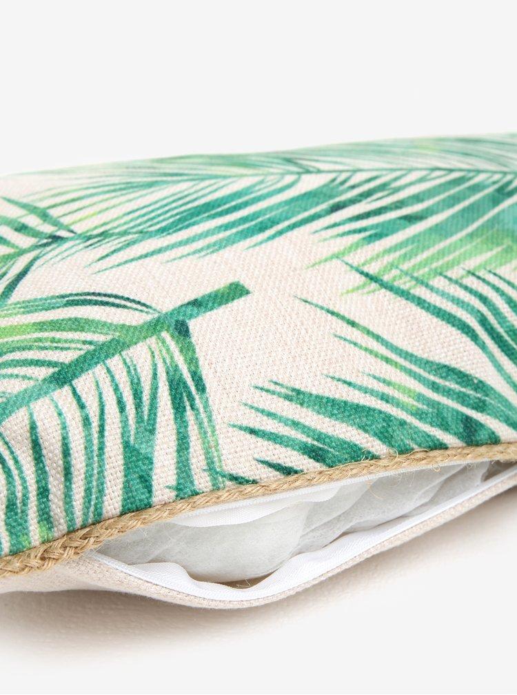 Zeleno-béžový polštář s potiskem listů Kaemingk