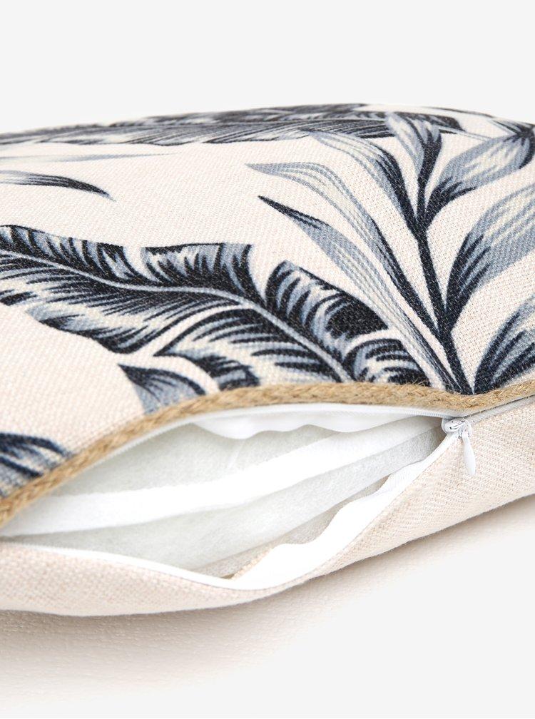Modro-béžový polštář s potiskem listů Kaemingk
