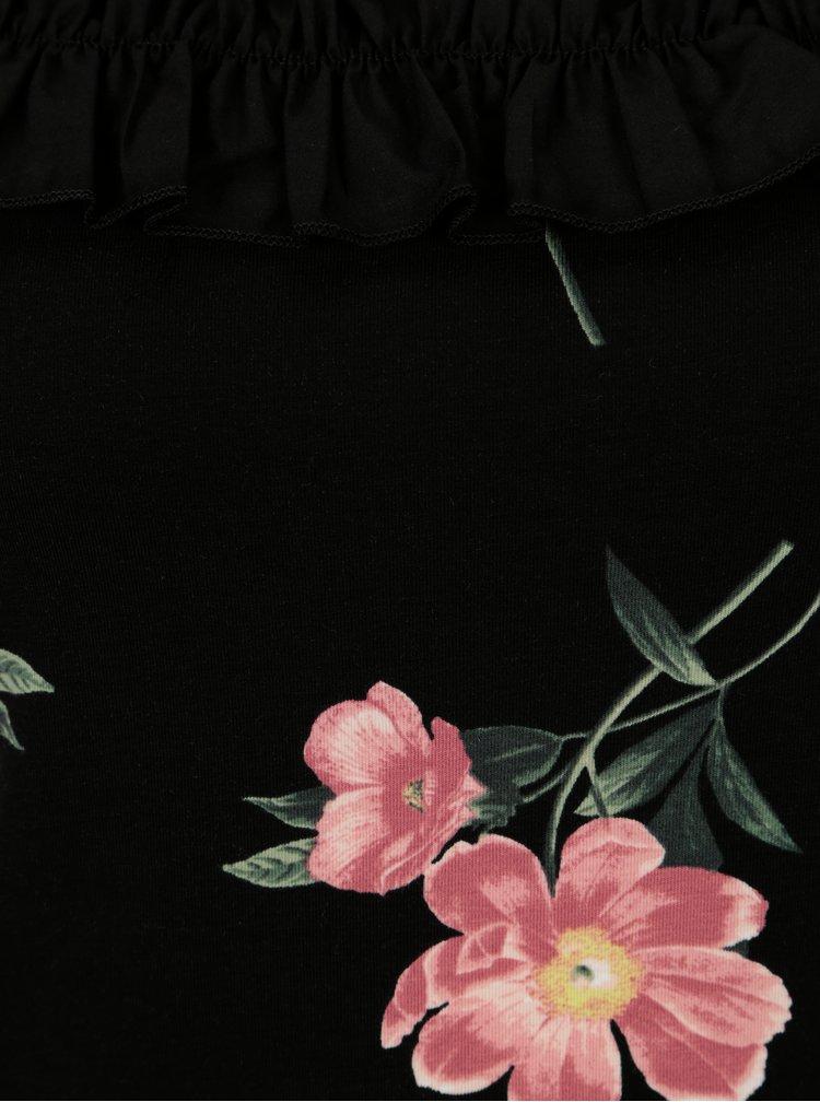 Černé květované tričko s odhalenými rameny Dorothy Perkins