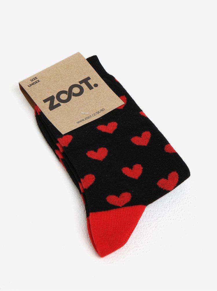 Černé dámské ponožky s motivem srdcí ZOOT