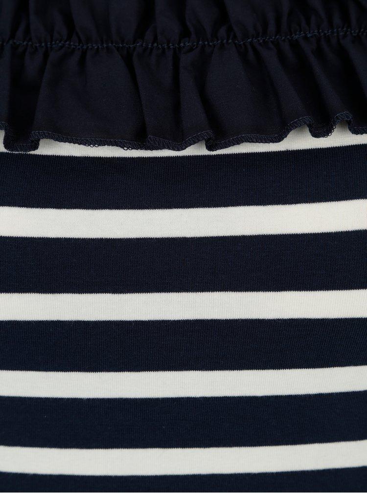 Modro-bílé pruhované tričko s odhalenými rameny Dorothy Perkins