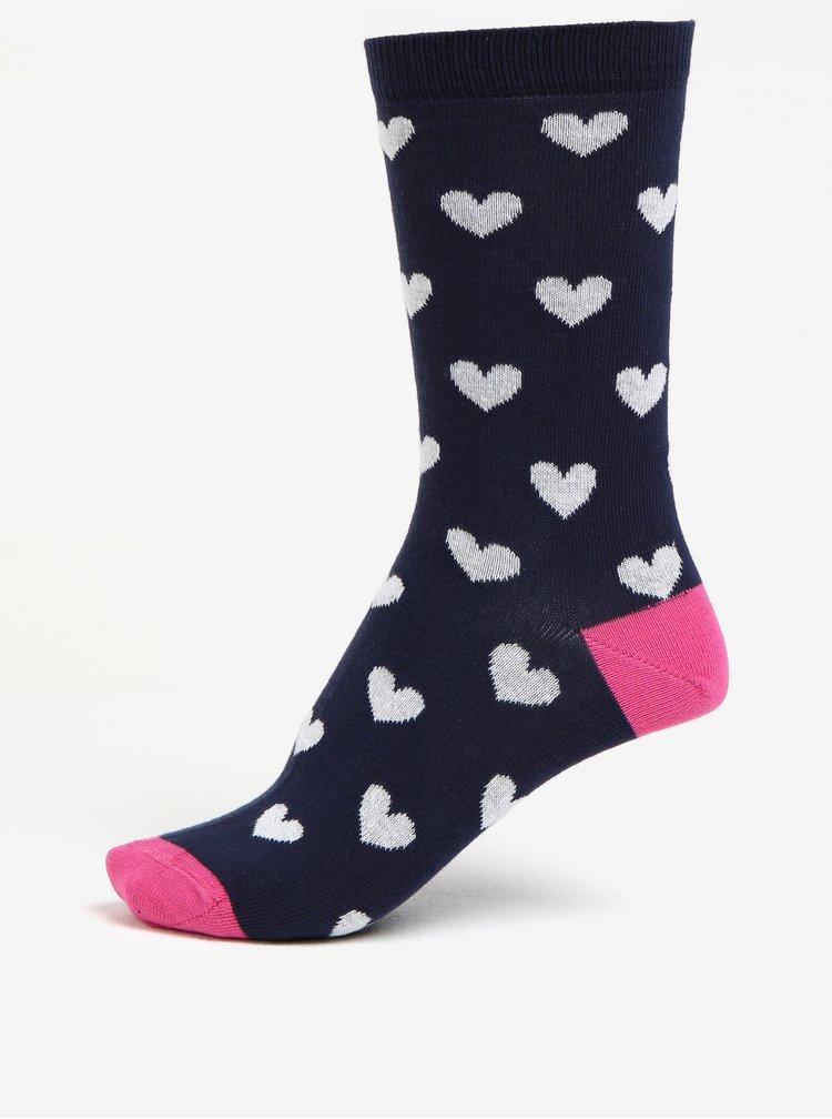 Tmavě modré dámské ponožky s motivem srdcí ZOOT