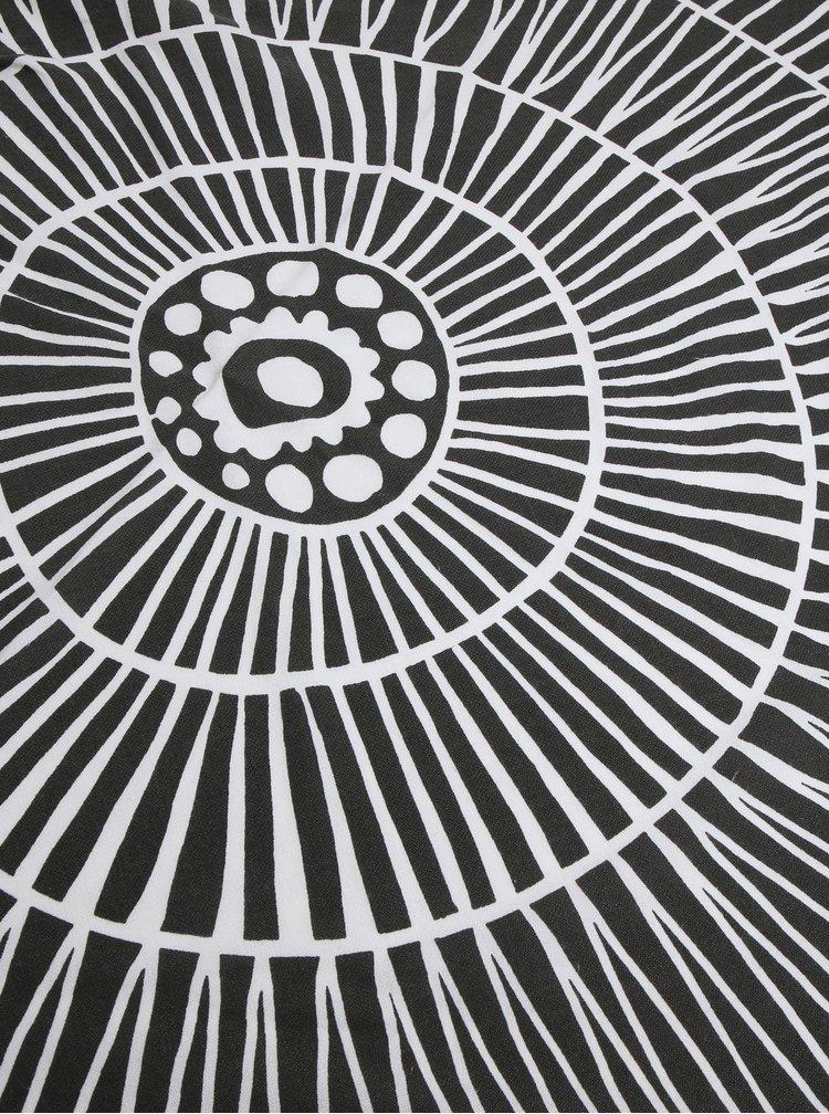 Krémovo-černá hammam osuška s třásněmi Kaemingk