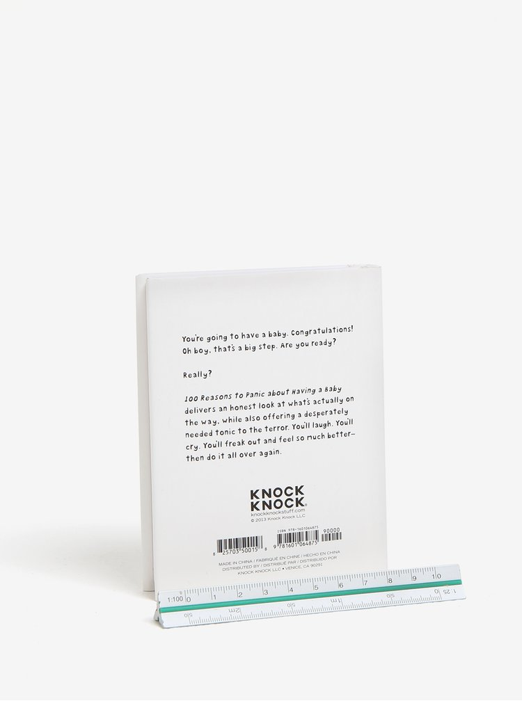 Bílá příruční knížka s červenými detaily Knock Knock