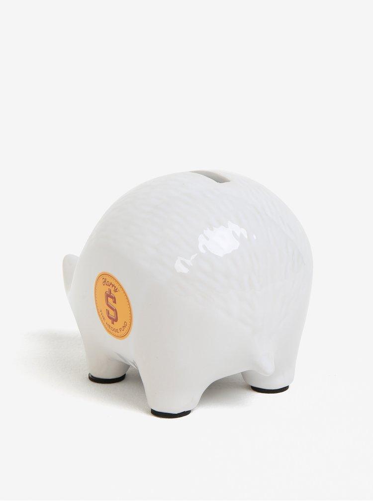 Bílá kasička ve tvaru ježka Luckies