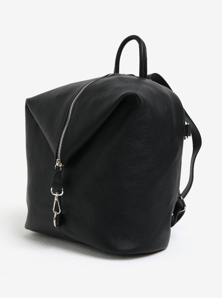 Černý dámský kožený batoh KARA