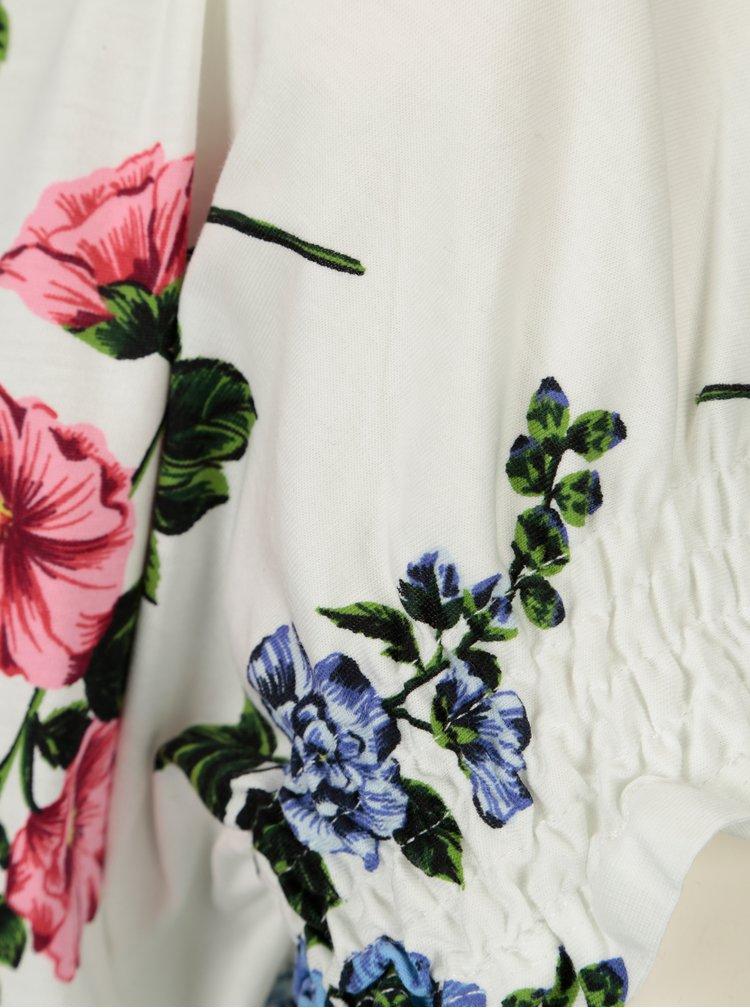 Bílé květované tričko s řasením Dorothy Perkins