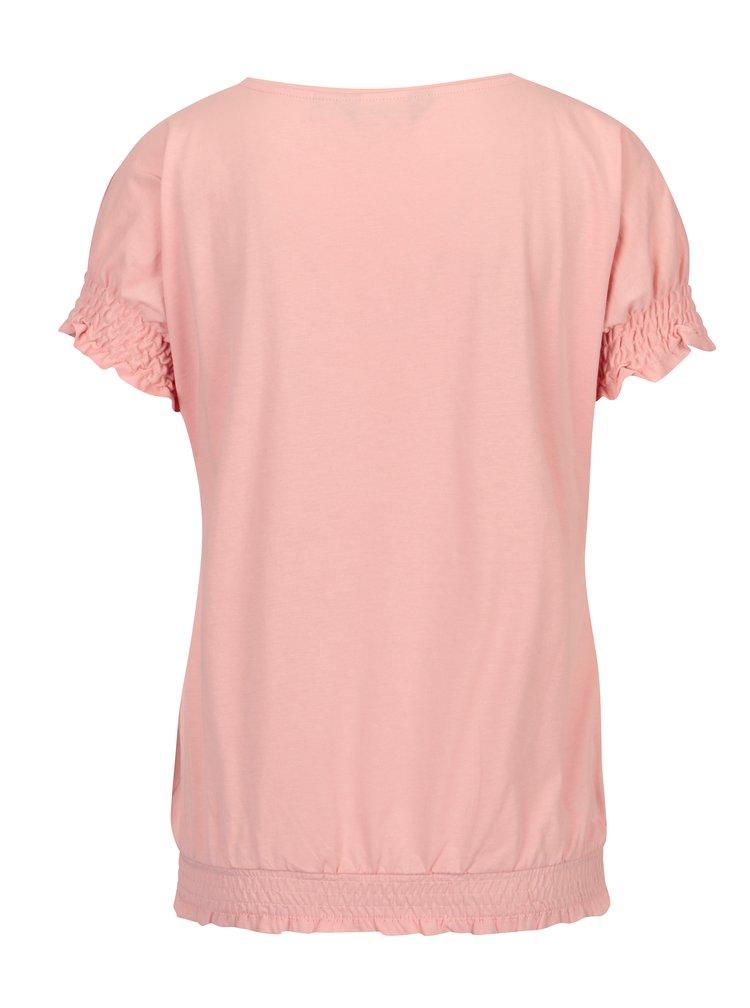 Světle růžové tričko s řasením Dorothy Perkins