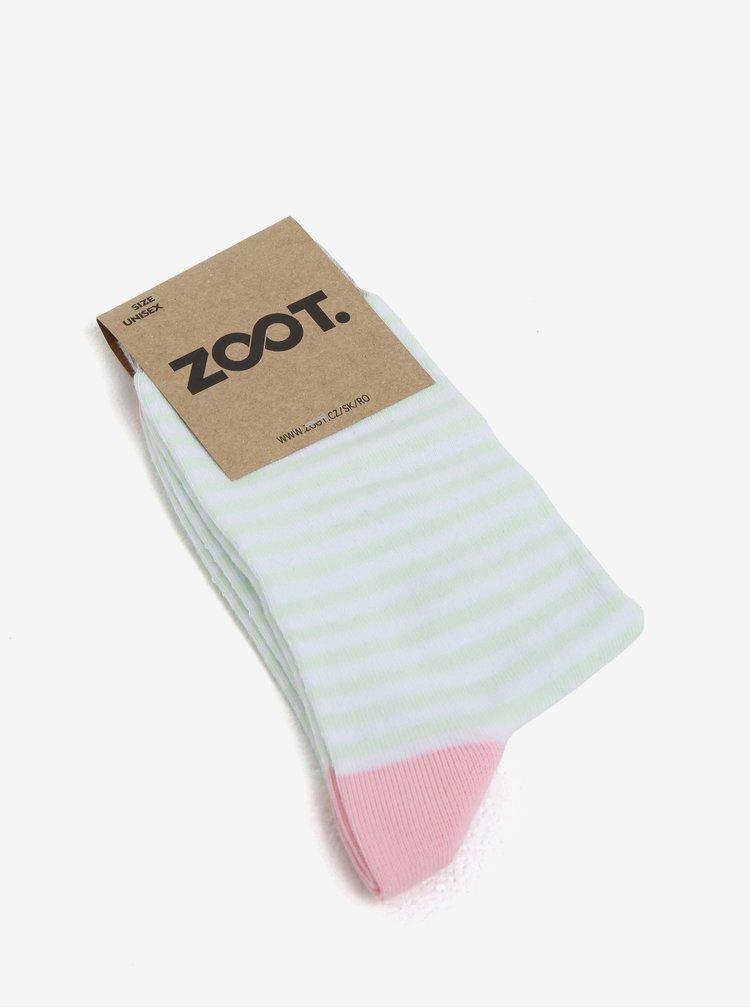 Zeleno-bílé dámské pruhované ponožky ZOOT